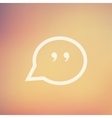Quotation Mark Speech Bubble in flat style icon vector image vector image