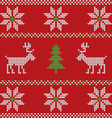 red knitted christmas sweater with deer seamless vector image vector image
