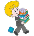 Schoolboy with textbooks vector image vector image