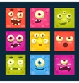 Square Cartoon Monster Faces Set vector image vector image