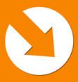 white paper arrow on orange background vector image vector image