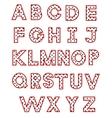 white polka dot alphabet vector image vector image