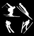 white silhouette of a skier on a black background vector image vector image
