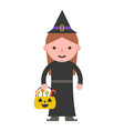 witch and trick or treat basket children vector image