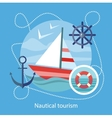 Nautical Tourism Sailing Vessel in Blue Water vector image