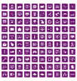 100 internet icons set grunge purple vector image vector image