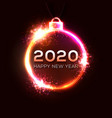 2020 happy new year neon celebration background vector image