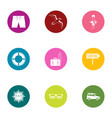 beach entertainment icons set flat style vector image vector image