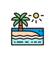 beach with palm trees landscape flat color line vector image vector image