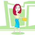 beautiful business woman in fashion clothes walk vector image