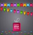 Birthday card with colorful flags and gift vector image vector image