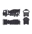 black silhouette concrete mixer truck vector image vector image