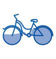 blue shading silhouette of tourist bike icon vector image