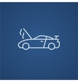 Broken car with open hood line icon vector image vector image