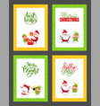 christmas cards collection with santa claus elf vector image vector image