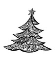christmas tree drawing ink line vector image