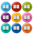 Circle buttons with notebooks vector image vector image