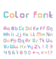 color font from three strips vector image vector image