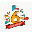 colorful happy birthday number 6 flat line design vector image vector image