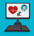 computer with telemedicine technology vector image