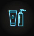 cosmetic bottles icon in glowing neon style vector image vector image