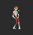 creepy skeleton cowboy character wearing hat vest vector image