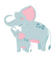 cute animals mom and baelephants icon design vector image