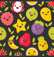cute smiling exotic fruits seamless vector image vector image