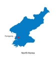Detailed map of North Korea and capital city vector image vector image