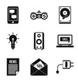 development of mobile app icons set simple style vector image vector image