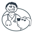 Doctor and patient dog vector image