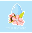 Easter greeting card with egg and pink apricot vector image vector image