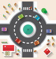 Flat Design Top View Street Roundabout with Cars vector image