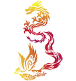 Flying Dragon Phoenix Chinese Style Paper Cut vector image vector image
