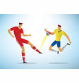 football player foul touches ball with his vector image vector image