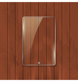 Glass frame on wooden texture background Glass vector image vector image