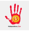 Handprint with the Flag of Kyrgyzstan in grunge vector image vector image