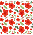 hibiscus flower seamless pattern vector image vector image