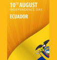 independence day of ecuador flag and patriotic vector image