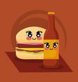 kawaii hamburger and beer vector image