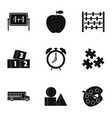 Kindergarten icons set simple style vector image