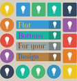 Light bulb icon sign Set of twenty colored flat vector image