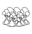 line tropical tree branches leaves and clouds vector image vector image