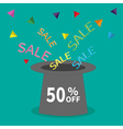 Magic hat 50 off Sale background Big sale vector image