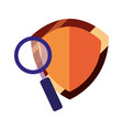 magnifying glass shield protection vector image vector image