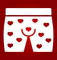 men underwear with hearts glyph icon vector image vector image