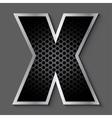 Metal grid font - letter X vector image