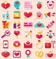 Modern Flat Design Icons for Happy Valentine Day vector image