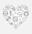 music icons in heart shape i love vector image