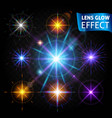 realistic light effects glare light rays vector image vector image